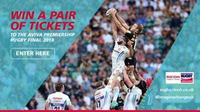 Win two tickets to the Aviva Premiership Rugby Final 2018 courtesy of Ricoh