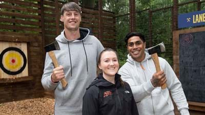 Wasps players Go Ape with some axe-throwing and zipwiring!