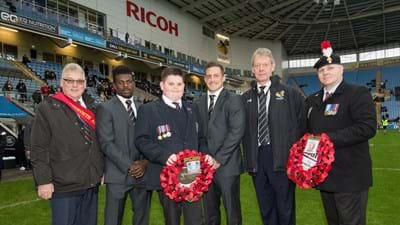 Wasps hold Remembrance Service before game at Ricoh Arena