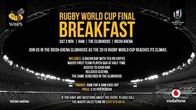 Rugby World Cup Final Breakfast at Ricoh Arena