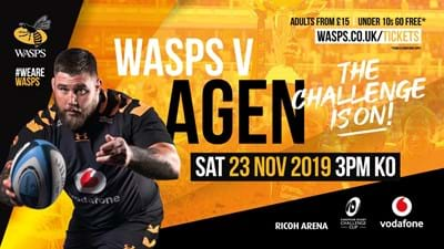 Early Bird - 20% off Wasps v Agen!