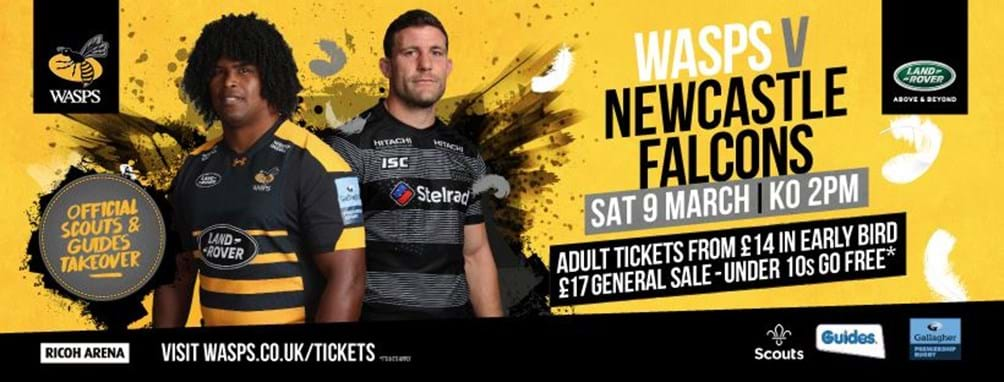 Wasps v Newcastle Falcons 9 March, 19.