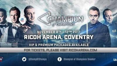 Champion of Champions Snooker Returns to the Ricoh Arena